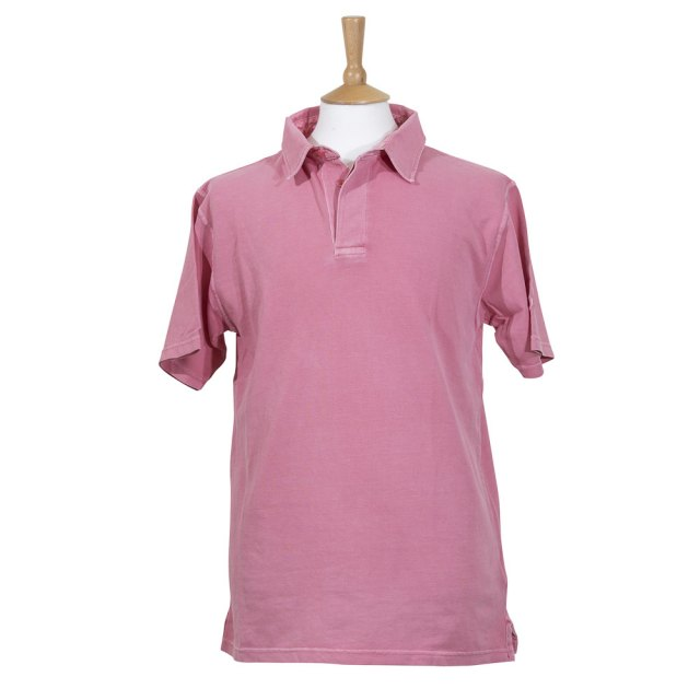 Coastal Blue-Antique Pique Polo - Coral